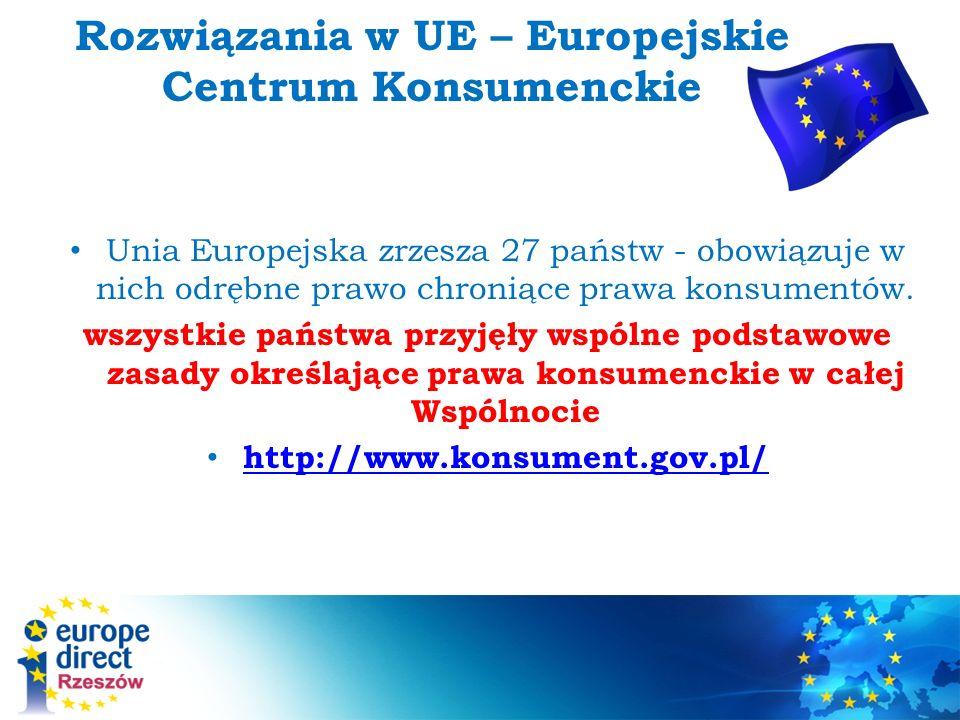 Rozwiązania w UE – Europejskie Centrum Konsumenckie