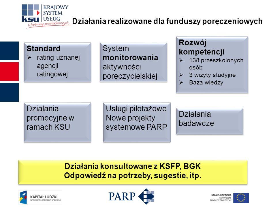 Działania realizowane dla funduszy poręczeniowych