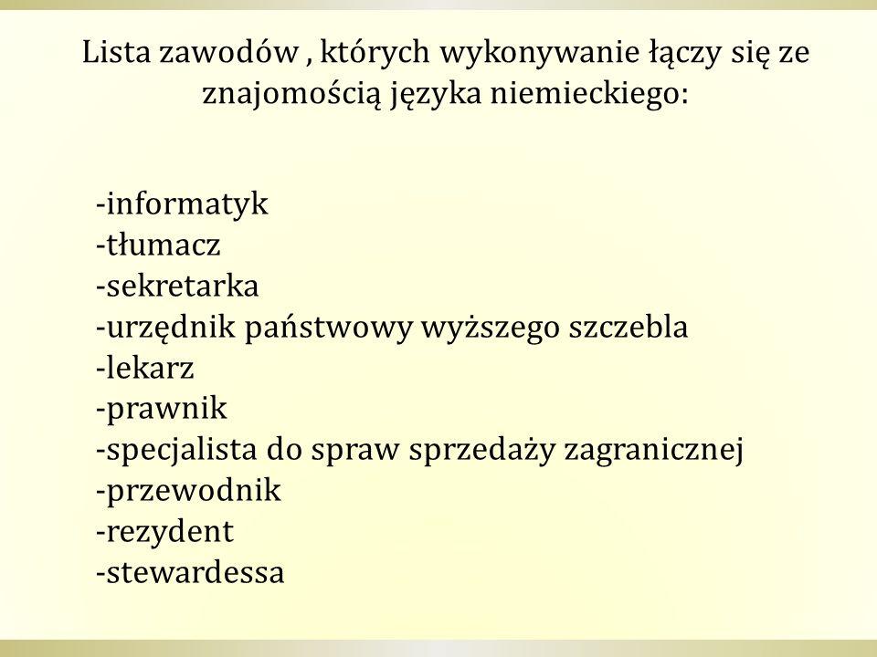 Lista zawodów , których wykonywanie łączy się ze znajomością języka niemieckiego: