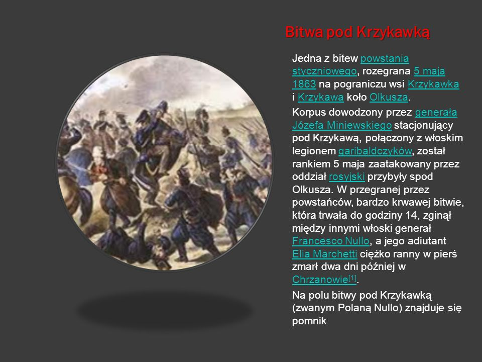 Bitwa pod Krzykawką Jedna z bitew powstania styczniowego, rozegrana 5 maja 1863 na pograniczu wsi Krzykawka i Krzykawa koło Olkusza.