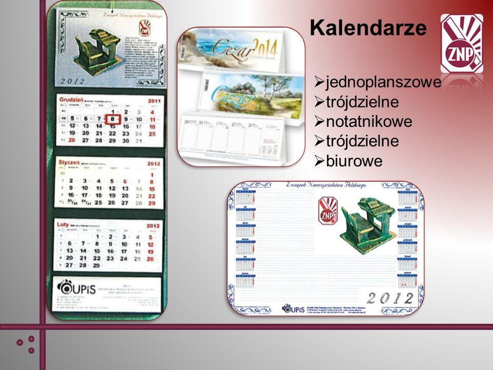 Kalendarze jednoplanszowe trójdzielne notatnikowe biurowe