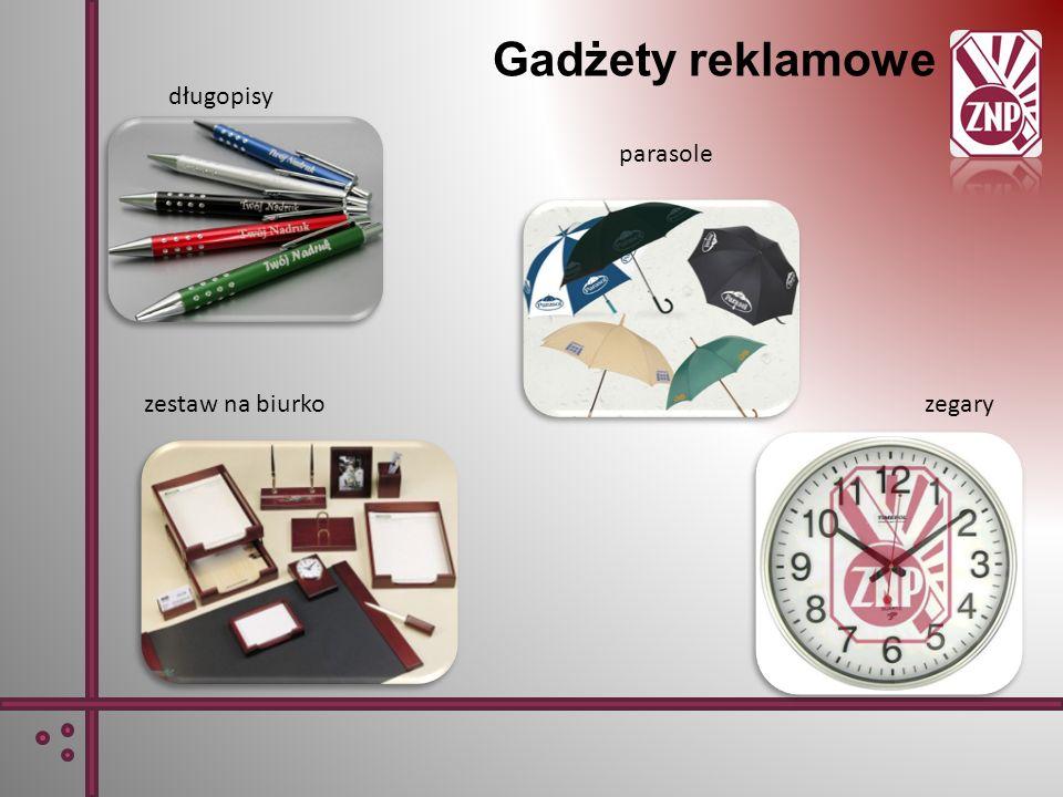 Gadżety reklamowe długopisy parasole zestaw na biurko zegary
