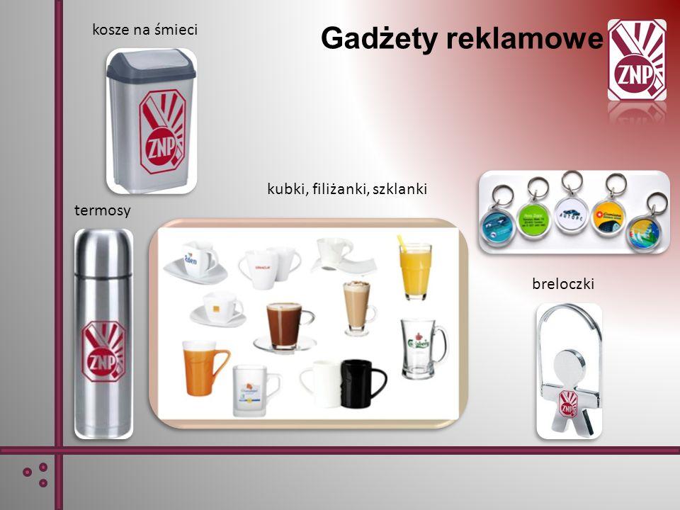 Gadżety reklamowe kosze na śmieci kubki, filiżanki, szklanki termosy