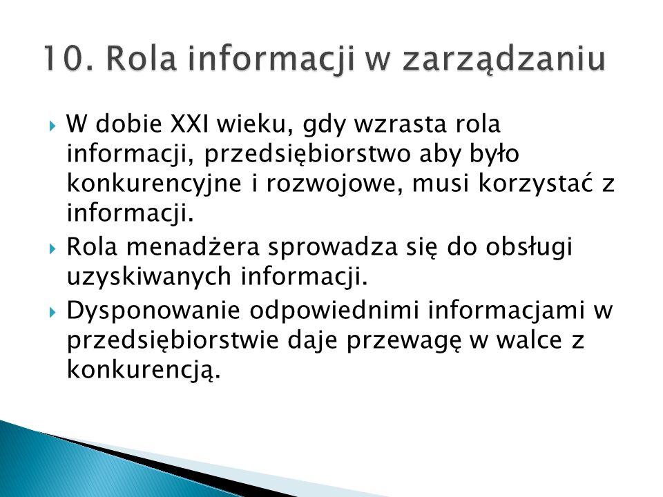 10. Rola informacji w zarządzaniu