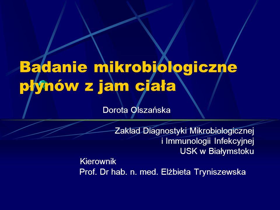 Badanie mikrobiologiczne płynów z jam ciała
