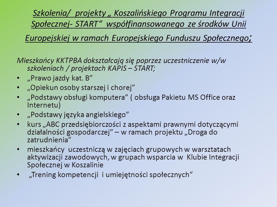 """Szkolenia/ projekty """" Koszalińskiego Programu Integracji Społecznej- START współfinansowanego ze środków Unii Europejskiej w ramach Europejskiego Funduszu Społecznego;"""