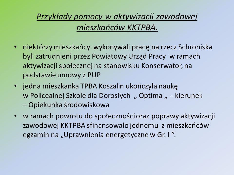 Przykłady pomocy w aktywizacji zawodowej mieszkańców KKTPBA.