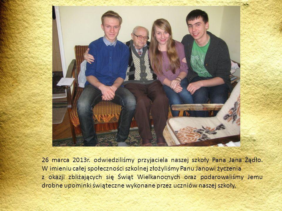 26 marca 2013r. odwiedziliśmy przyjaciela naszej szkoły Pana Jana Żądło. W imieniu całej społeczności szkolnej złożyliśmy Panu Janowi życzenia