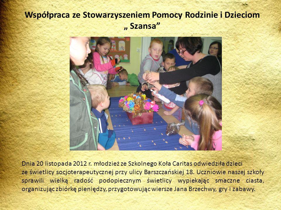 """Współpraca ze Stowarzyszeniem Pomocy Rodzinie i Dzieciom """" Szansa"""