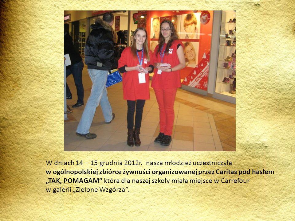 W dniach 14 – 15 grudnia 2012r. nasza młodzież uczestniczyła