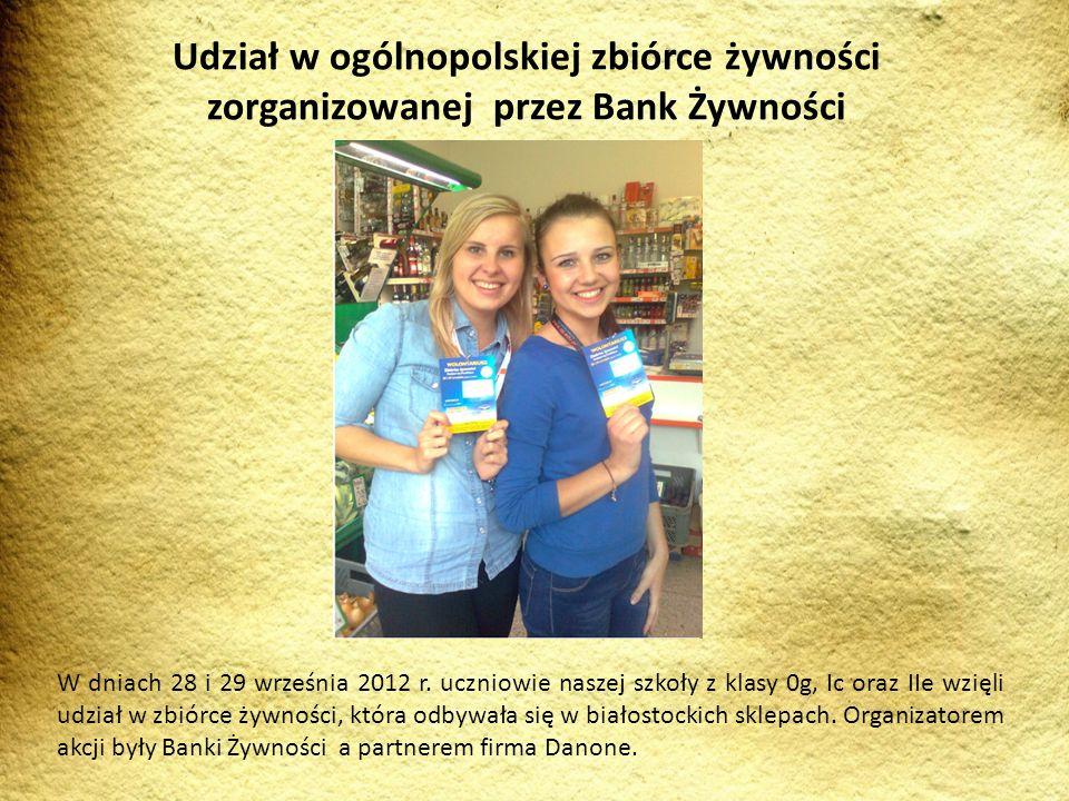 Udział w ogólnopolskiej zbiórce żywności zorganizowanej przez Bank Żywności