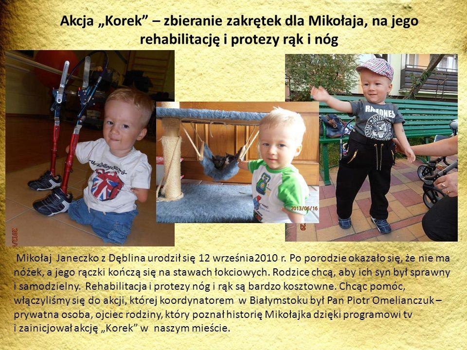 """Akcja """"Korek – zbieranie zakrętek dla Mikołaja, na jego rehabilitację i protezy rąk i nóg"""