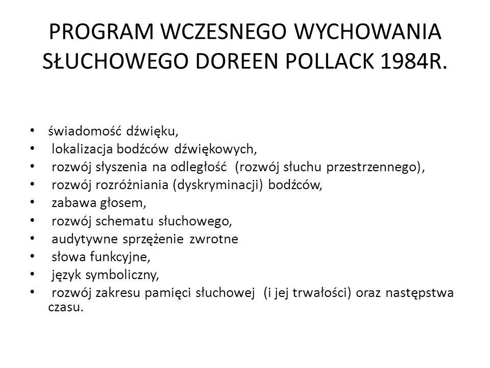 PROGRAM WCZESNEGO WYCHOWANIA SŁUCHOWEGO DOREEN POLLACK 1984R.