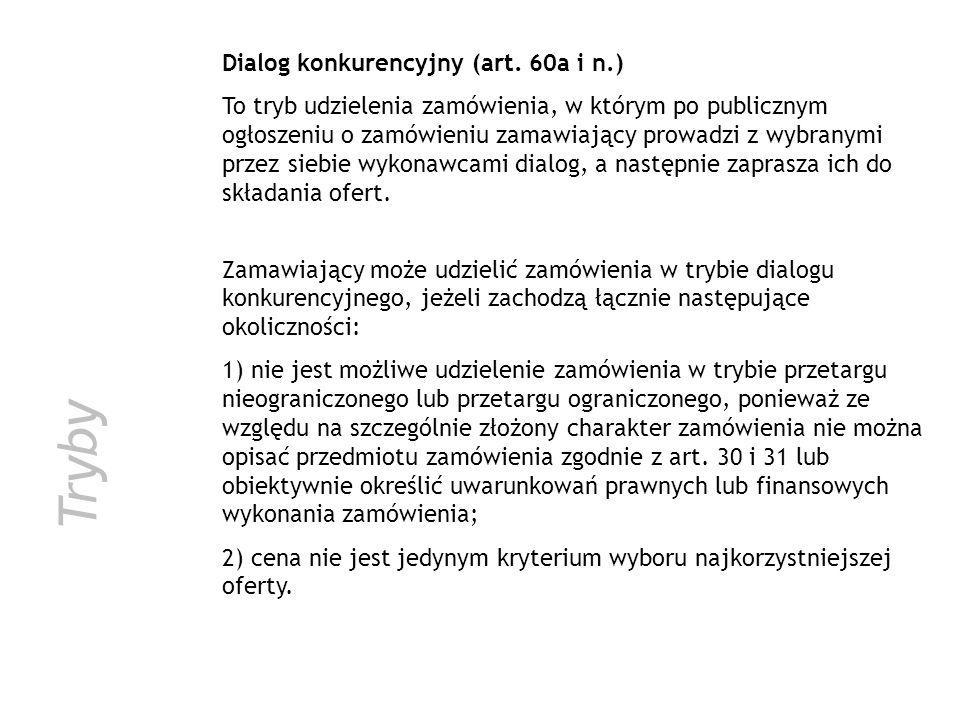 Tryby Dialog konkurencyjny (art. 60a i n.)