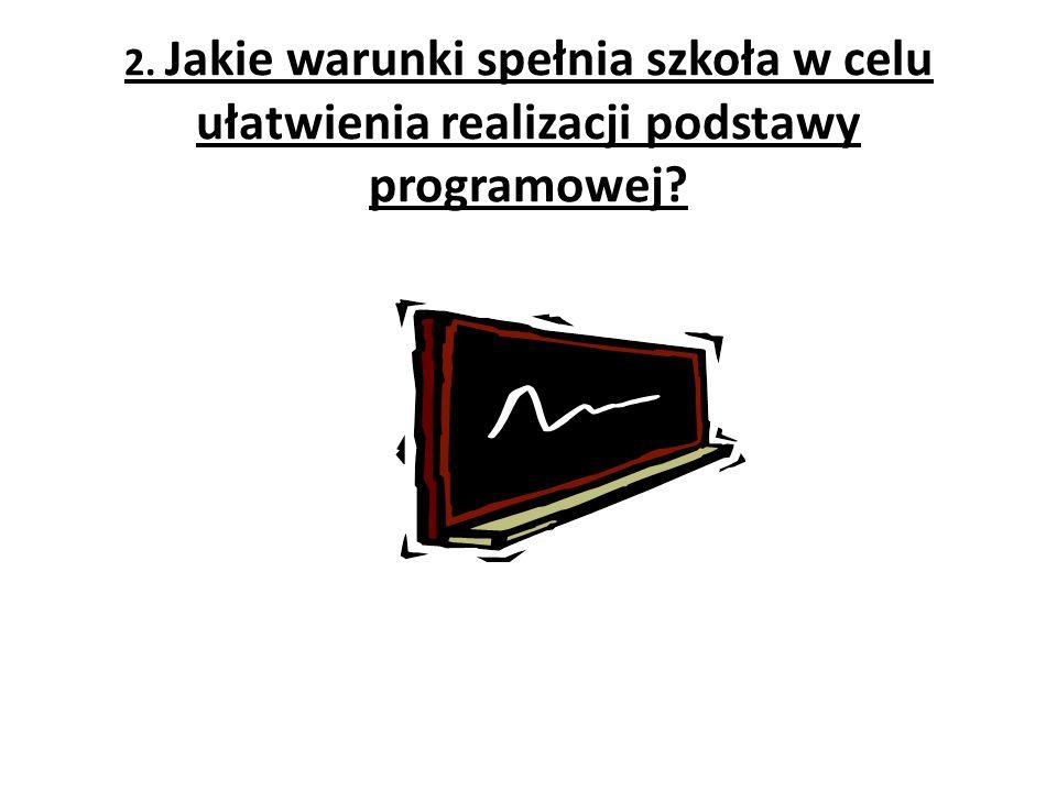 2. Jakie warunki spełnia szkoła w celu ułatwienia realizacji podstawy programowej