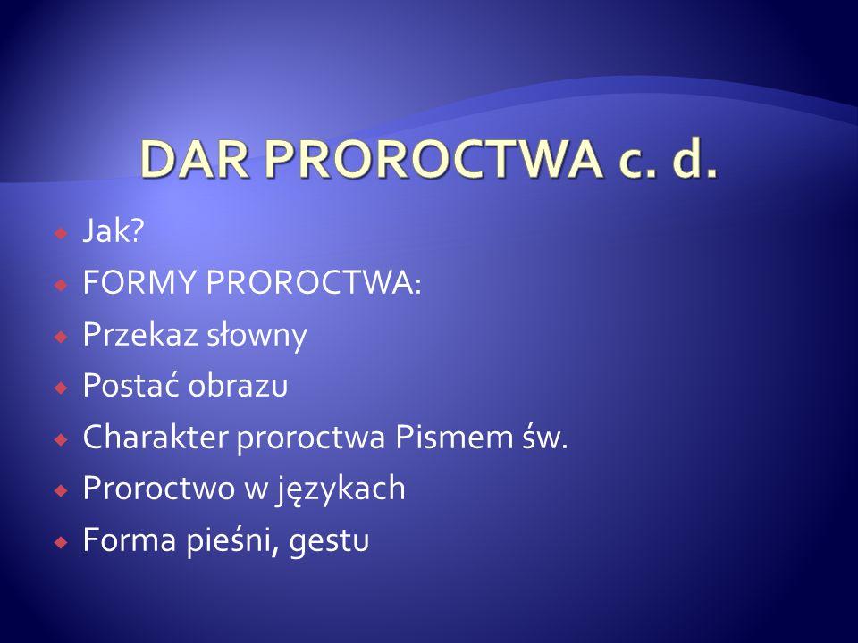 DAR PROROCTWA c. d. Jak FORMY PROROCTWA: Przekaz słowny Postać obrazu