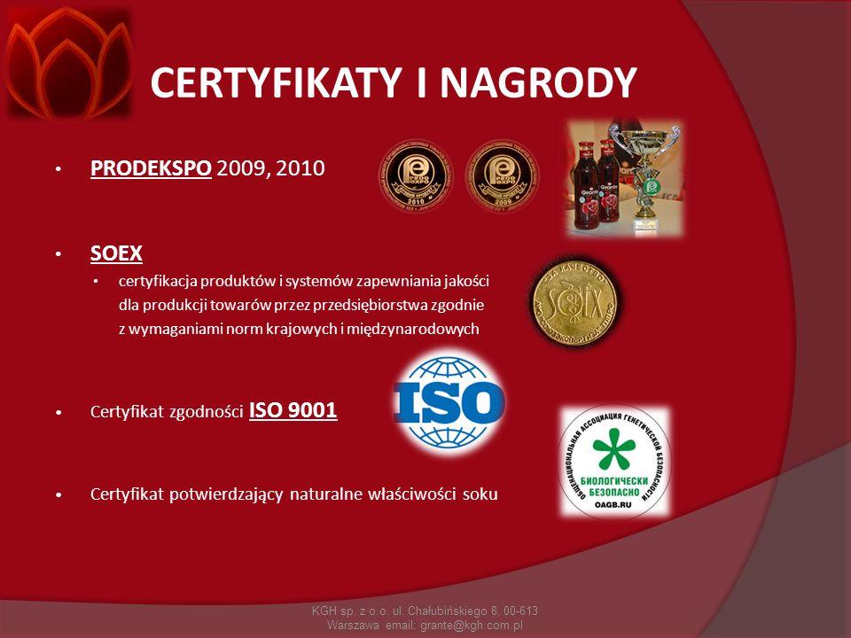 CERTYFIKATY I NAGRODY PRODEKSPO 2009, 2010 SOEX