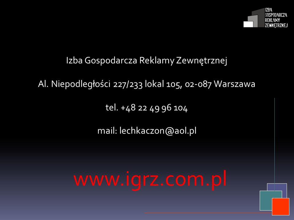 www.igrz.com.pl Izba Gospodarcza Reklamy Zewnętrznej