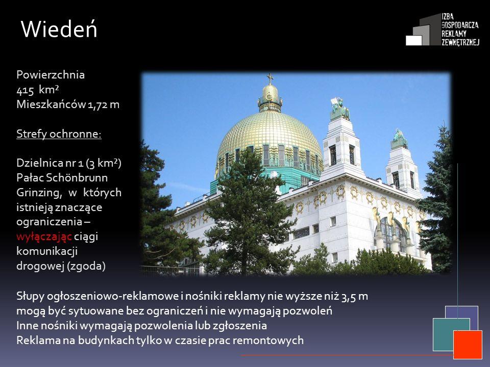Wiedeń Powierzchnia 415 km² Mieszkańców 1,72 m Strefy ochronne: