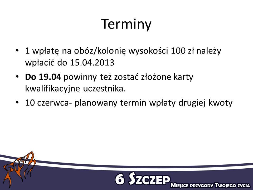 Terminy 1 wpłatę na obóz/kolonię wysokości 100 zł należy wpłacić do 15.04.2013. Do 19.04 powinny też zostać złożone karty kwalifikacyjne uczestnika.