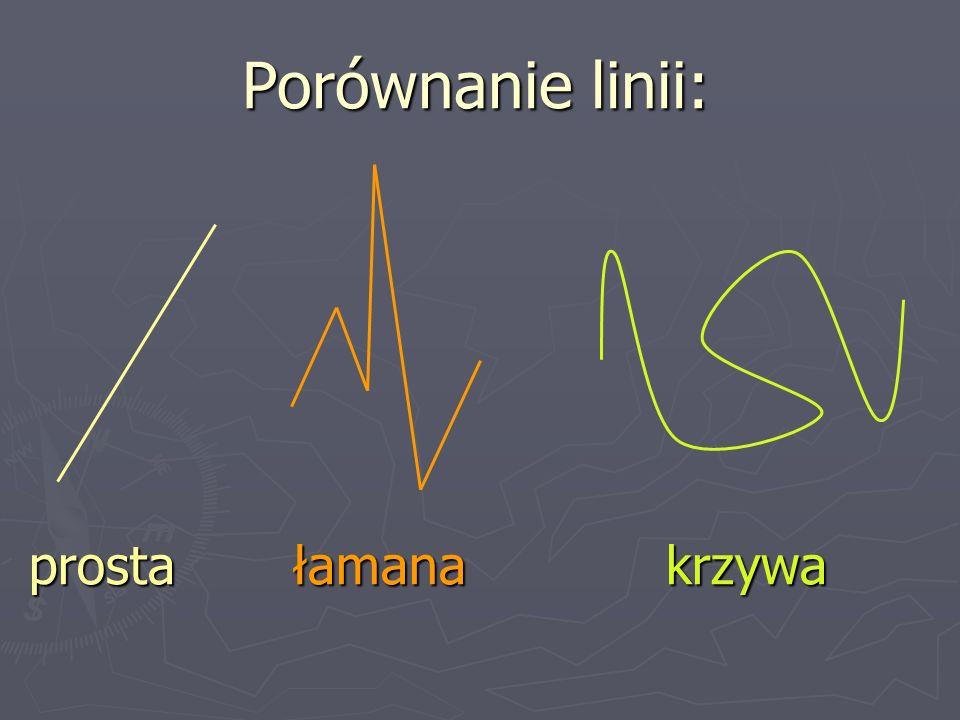 Porównanie linii: prosta łamana krzywa