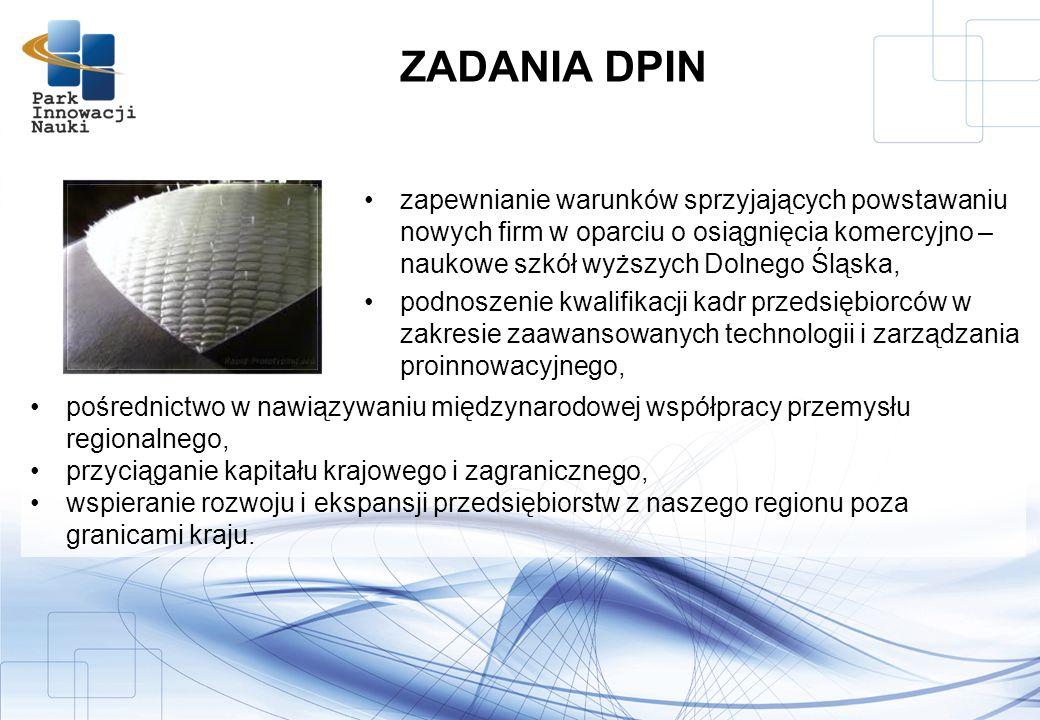ZADANIA DPIN zapewnianie warunków sprzyjających powstawaniu nowych firm w oparciu o osiągnięcia komercyjno – naukowe szkół wyższych Dolnego Śląska,