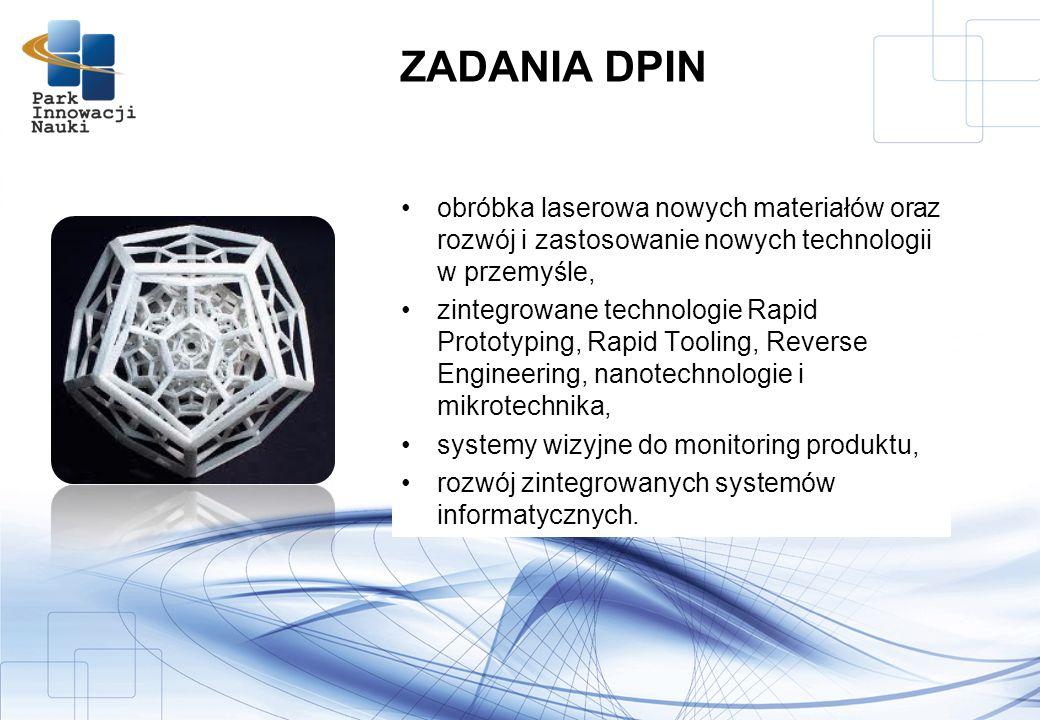 ZADANIA DPIN obróbka laserowa nowych materiałów oraz rozwój i zastosowanie nowych technologii w przemyśle,