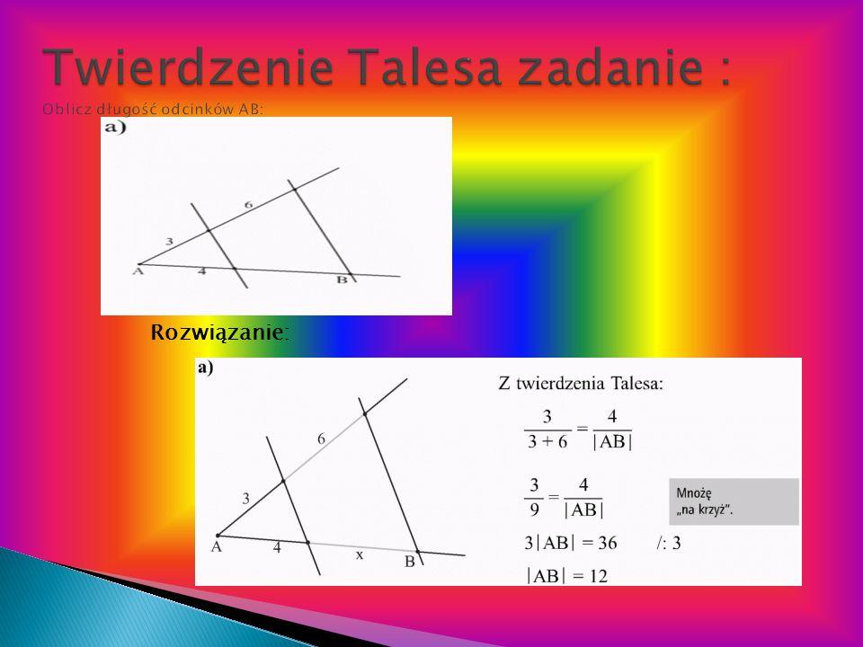 Twierdzenie Talesa zadanie : Oblicz długość odcinków AB: