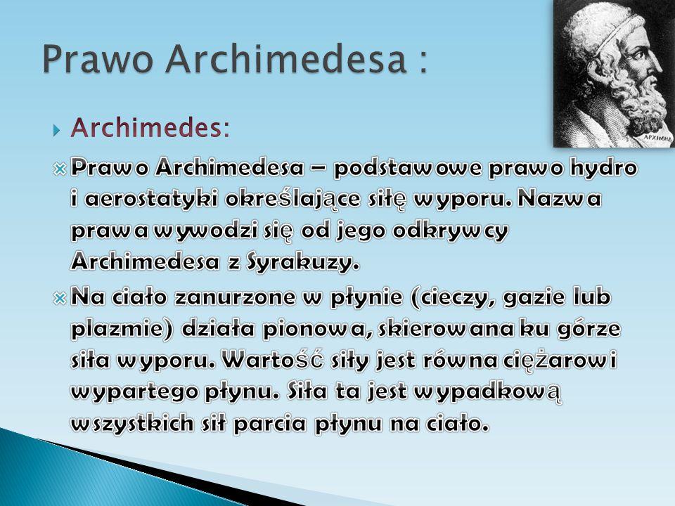 Prawo Archimedesa : Archimedes: