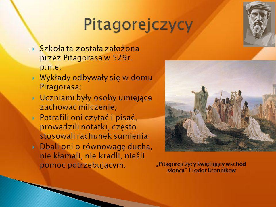"""""""Pitagorejczycy świętujący wschód słońca Fiodor Bronnikow"""