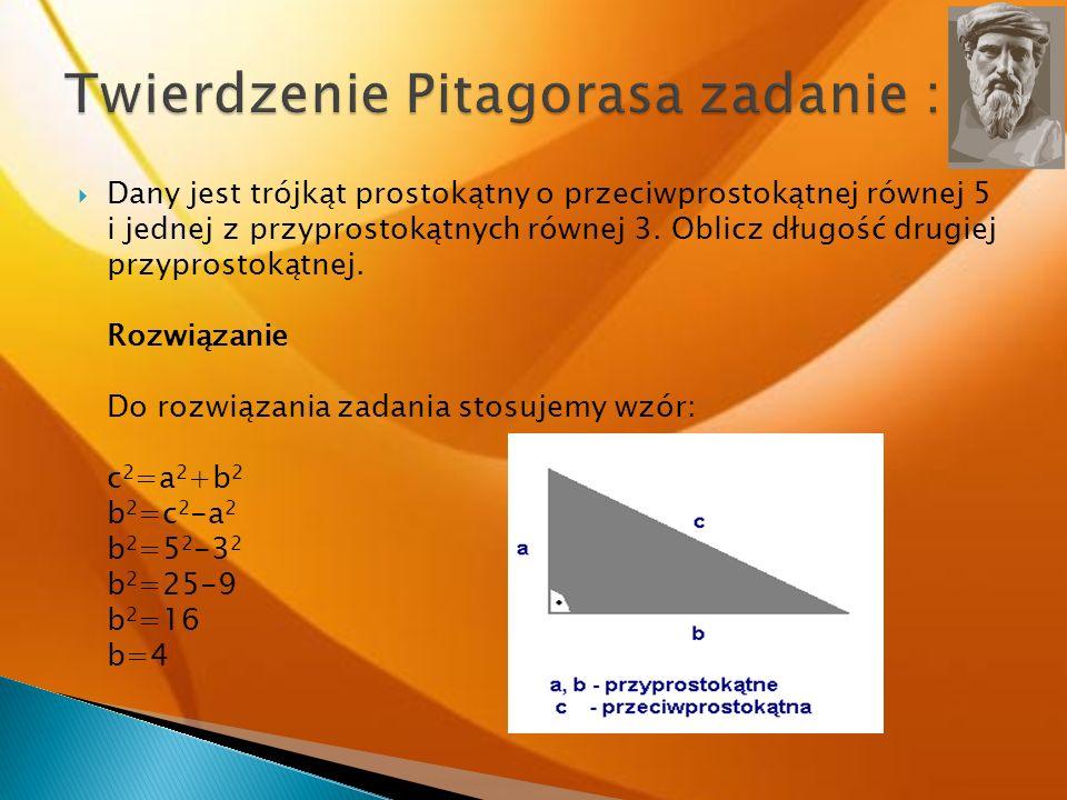 Twierdzenie Pitagorasa zadanie :