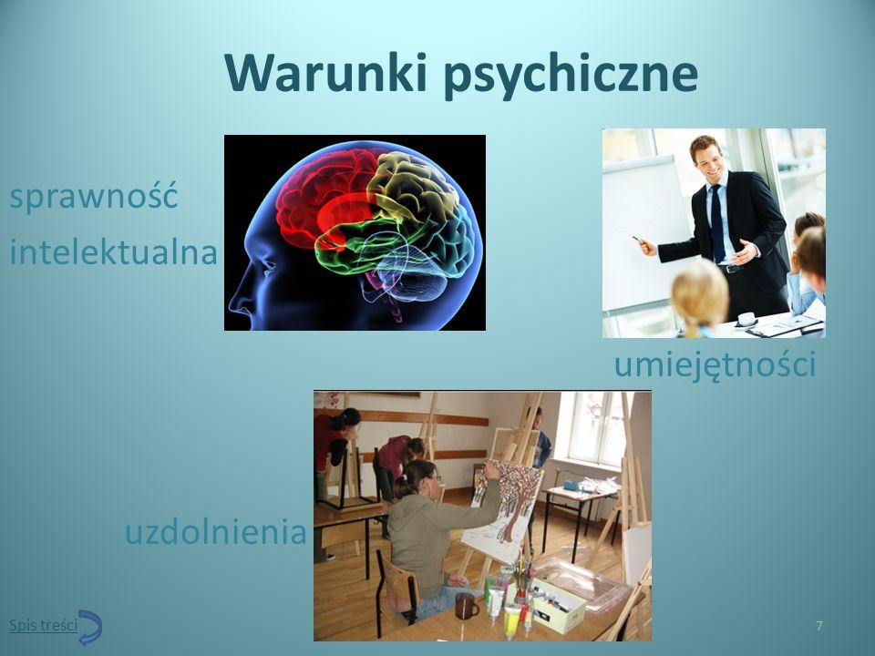 Warunki psychiczne sprawność intelektualna umiejętności uzdolnienia