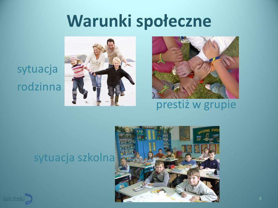 Warunki społeczne sytuacja rodzinna prestiż w grupie sytuacja szkolna