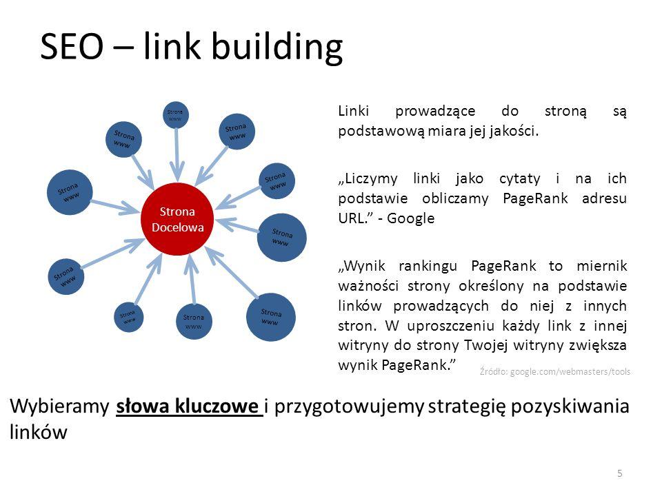 SEO – link building Strona www. Linki prowadzące do stroną są podstawową miara jej jakości.