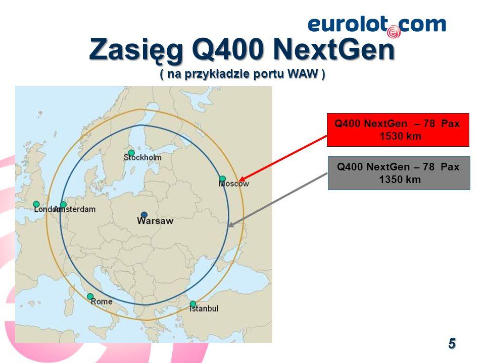 Zasięg Q400 NextGen ( na przykładzie portu WAW )