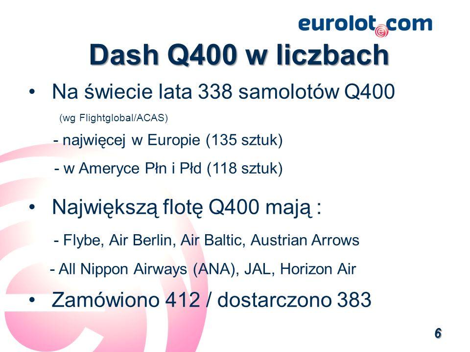 Dash Q400 w liczbach Na świecie lata 338 samolotów Q400