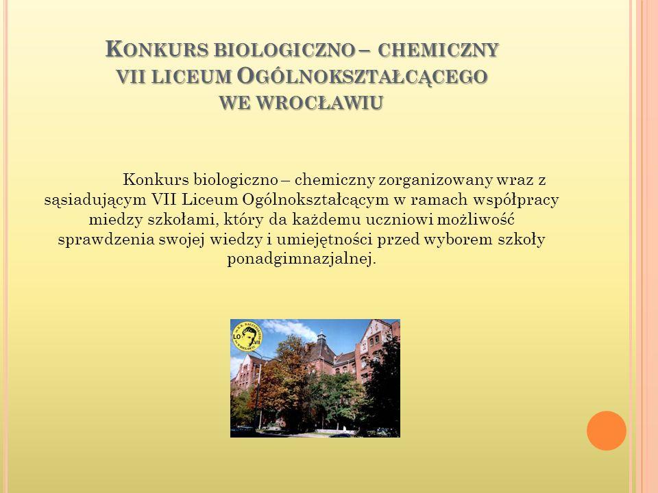 konkurs biologiczno – chemiczny vii liceum Ogólnokształcącego we wrocławiu