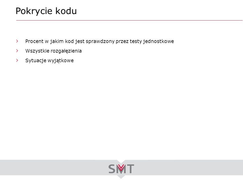 Pokrycie kodu Procent w jakim kod jest sprawdzony przez testy jednostkowe. Wszystkie rozgałęzienia.