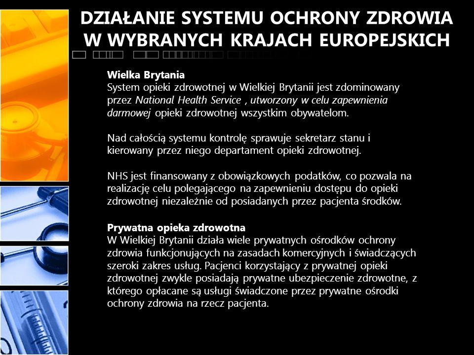 DZIAŁANIE SYSTEMU OCHRONY ZDROWIA W WYBRANYCH KRAJACH EUROPEJSKICH