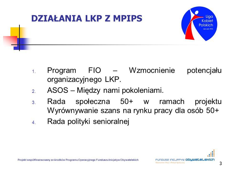 DZIAŁANIA LKP Z MPIPS Program FIO – Wzmocnienie potencjału organizacyjnego LKP. ASOS – Między nami pokoleniami.