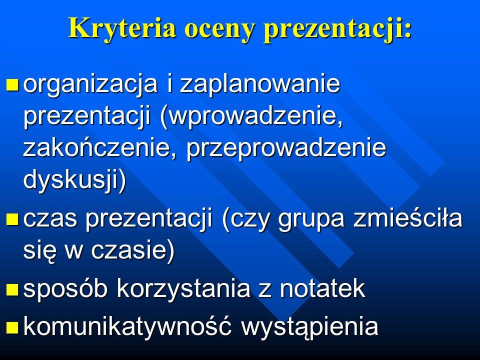 Kryteria oceny prezentacji:
