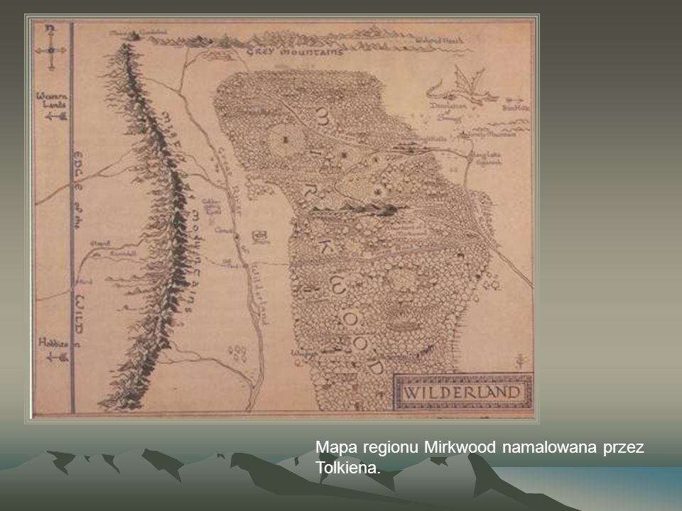 Mapa regionu Mirkwood namalowana przez Tolkiena.
