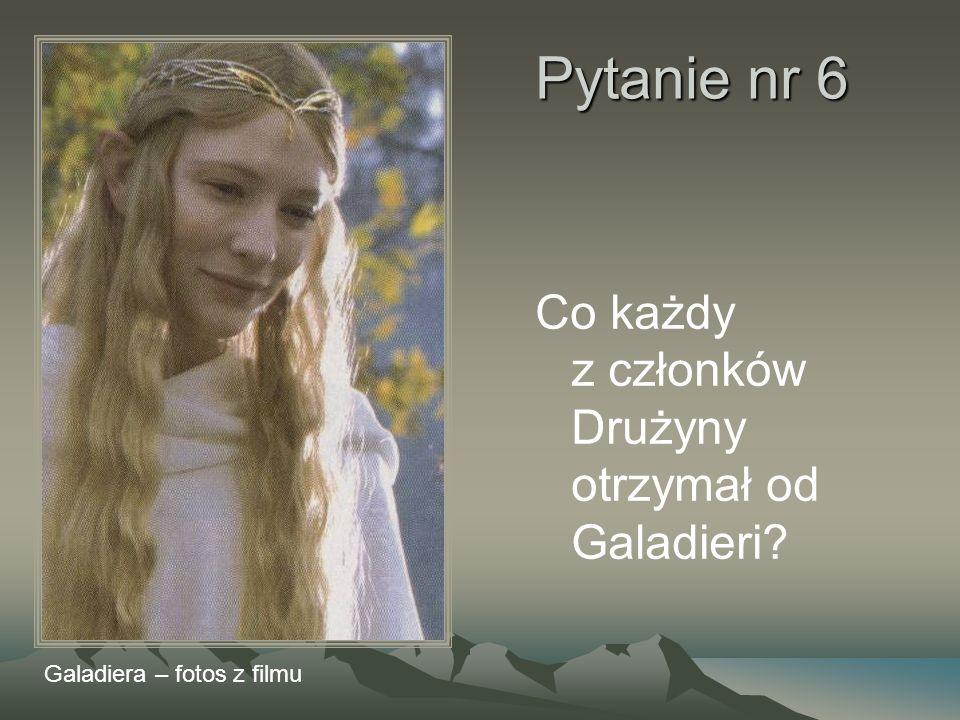 Pytanie nr 6 Co każdy z członków Drużyny otrzymał od Galadieri