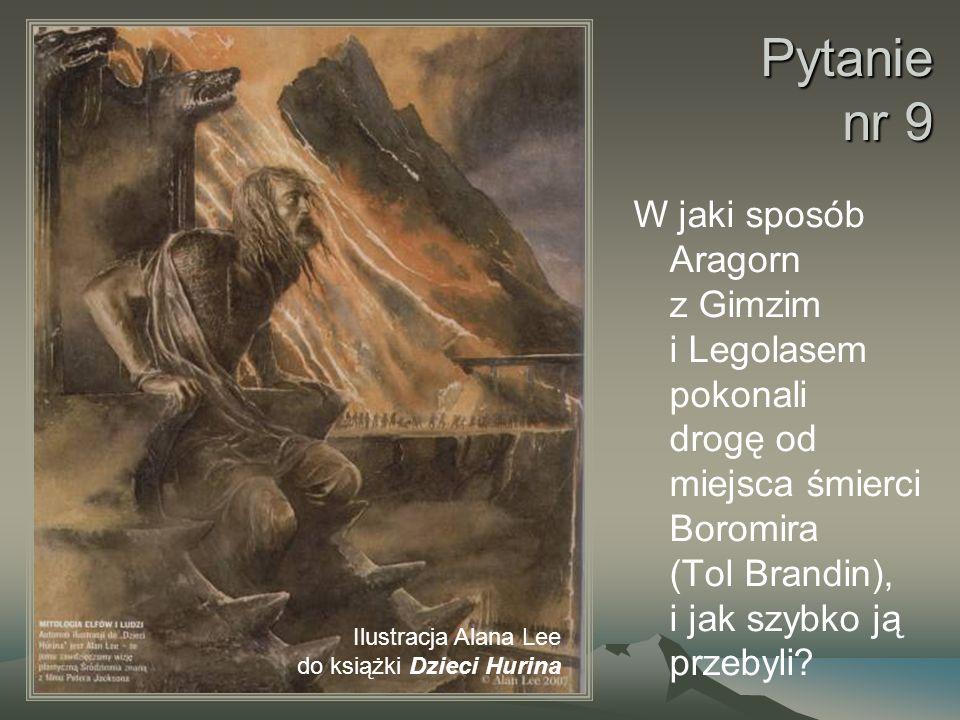 Pytanie nr 9 W jaki sposób Aragorn z Gimzim i Legolasem pokonali drogę od miejsca śmierci Boromira (Tol Brandin), i jak szybko ją przebyli