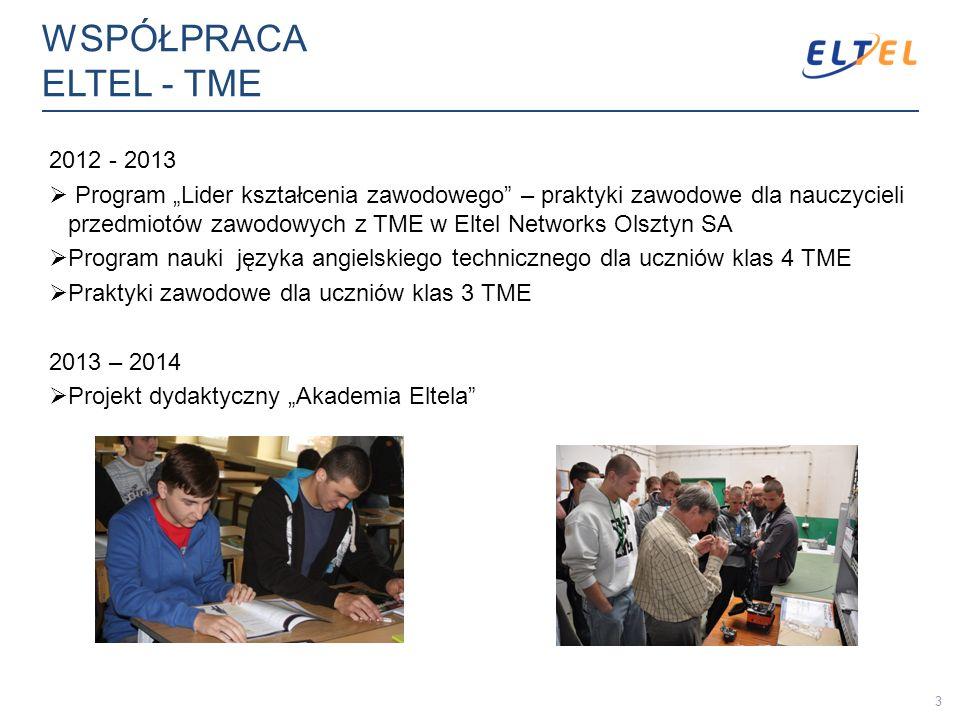 WSPÓŁPRACA ELTEL - TME 2012 - 2013