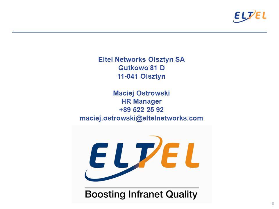 Eltel Networks Olsztyn SA Gutkowo 81 D 11-041 Olsztyn Maciej Ostrowski