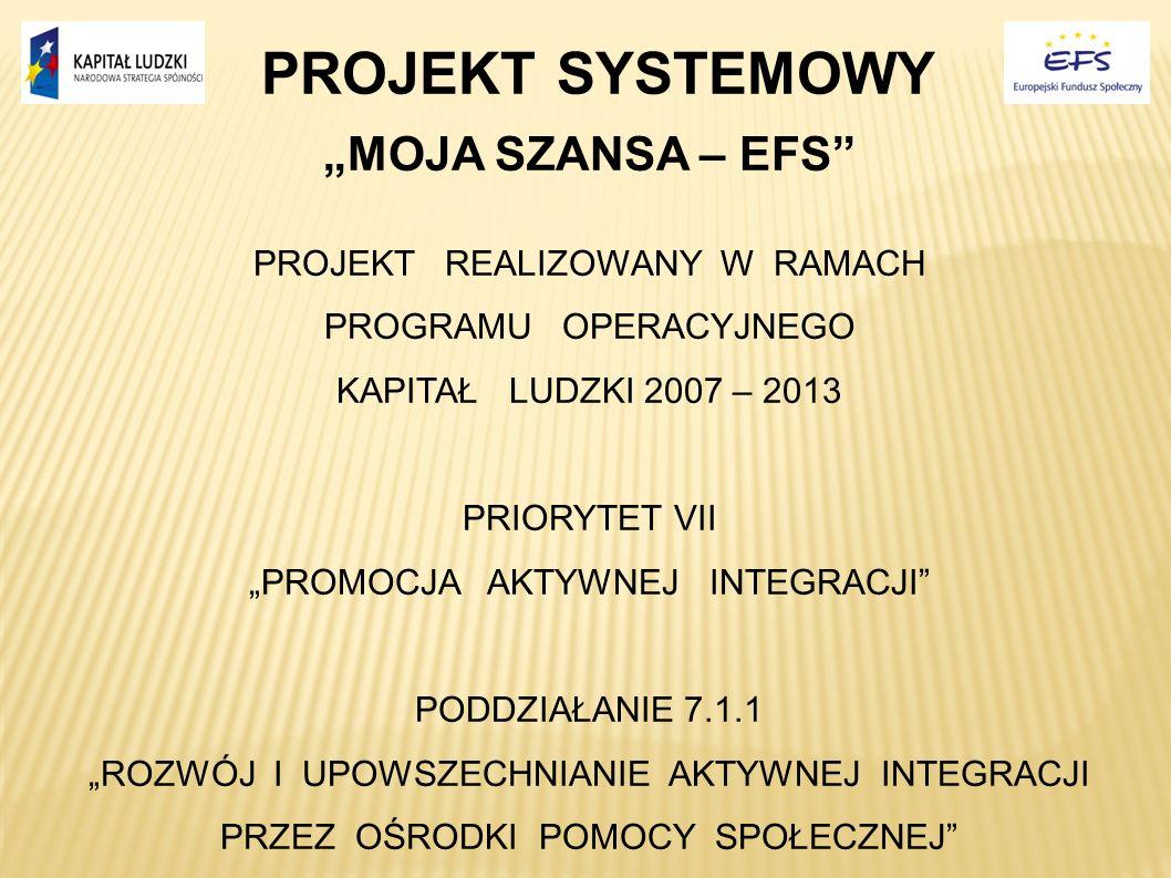 """PROJEKT SYSTEMOWY """"MOJA SZANSA – EFS PROJEKT REALIZOWANY W RAMACH"""