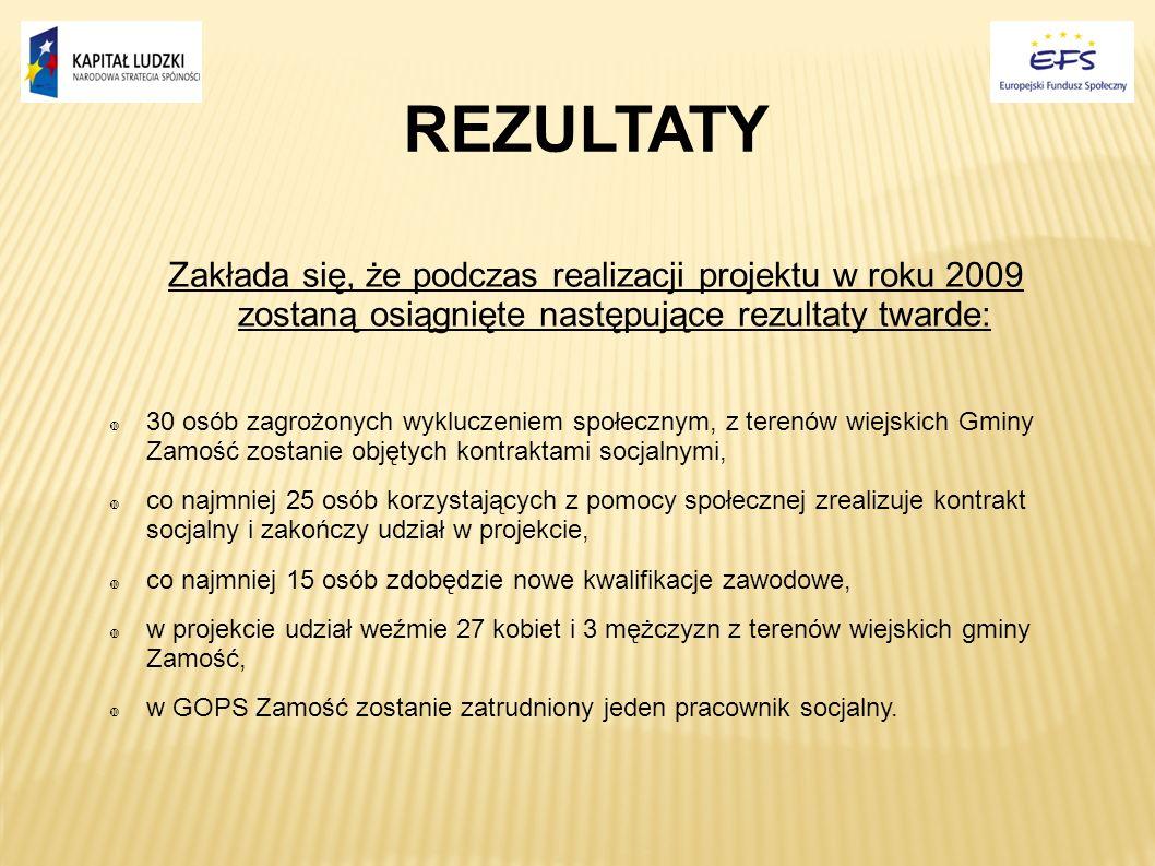 REZULTATY Zakłada się, że podczas realizacji projektu w roku 2009 zostaną osiągnięte następujące rezultaty twarde: