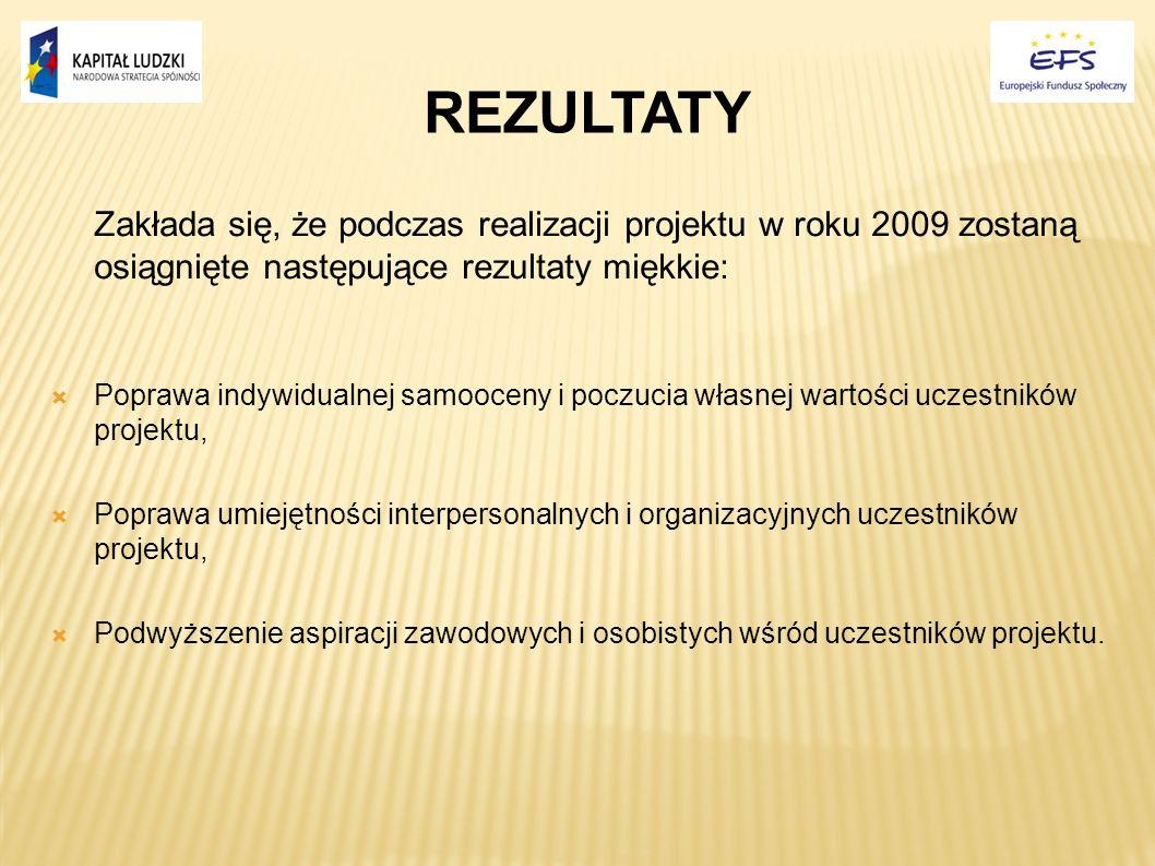 REZULTATY Zakłada się, że podczas realizacji projektu w roku 2009 zostaną osiągnięte następujące rezultaty miękkie: