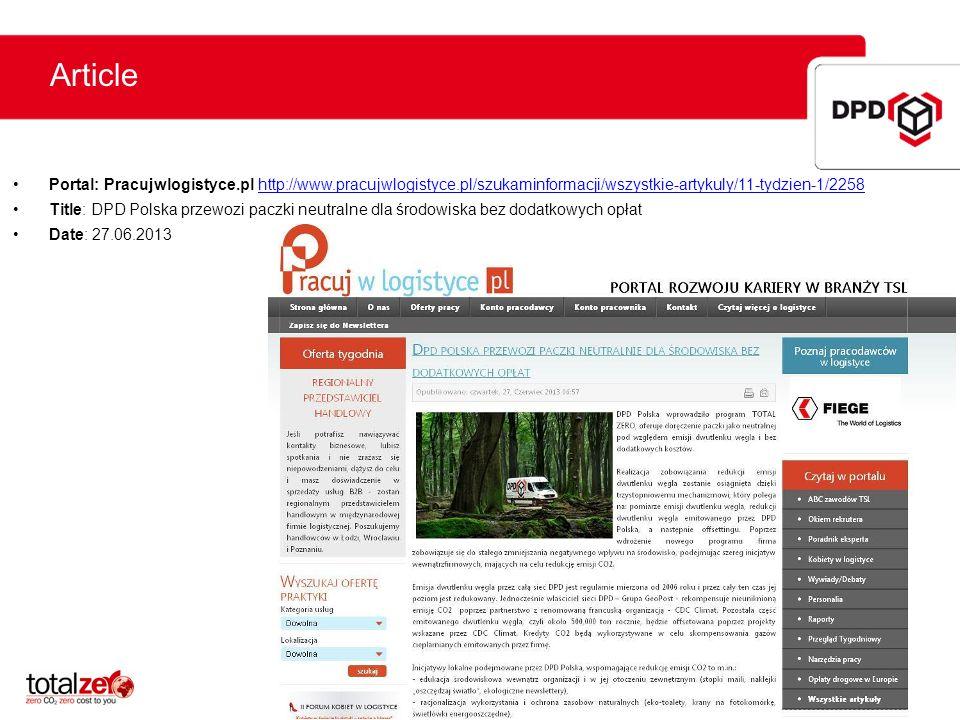 Article Portal: Pracujwlogistyce.pl http://www.pracujwlogistyce.pl/szukaminformacji/wszystkie-artykuly/11-tydzien-1/2258.